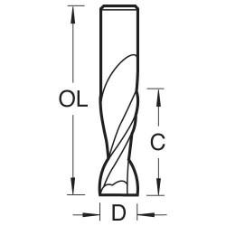 S55/3X1/2STC Spiral up-cut  9.5mm diameter